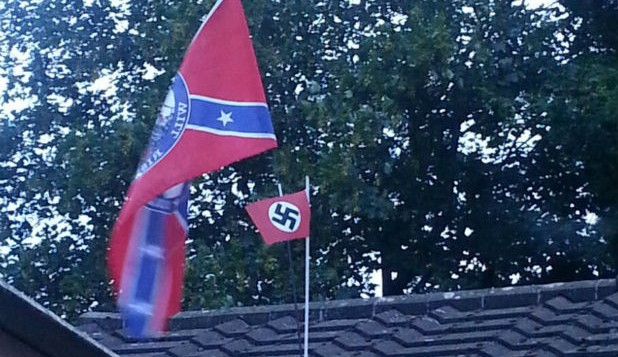 The Nazi flag mounted on the confederate flag (Source: Phil Norris of Gloucestershire Live)