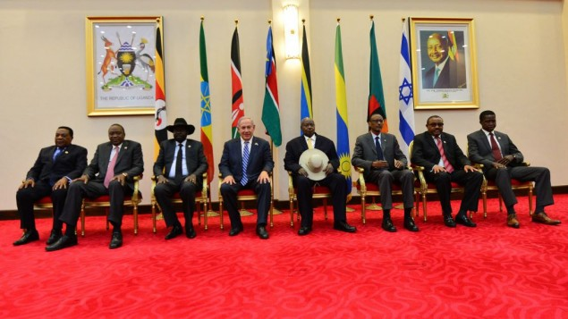 Netanyahu with seven African leaders ( JINI Photo Agency, LTD)