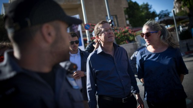 Israel's opposition leader, Isaac Herzog at the Jerusalem Pride March (Photo credit: JINIPIX)
