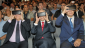 L-R: President Reuven Rivlin, Shimon Peres and Prime Minister Benjamin Netanyahu, view the centre through virtual goggles