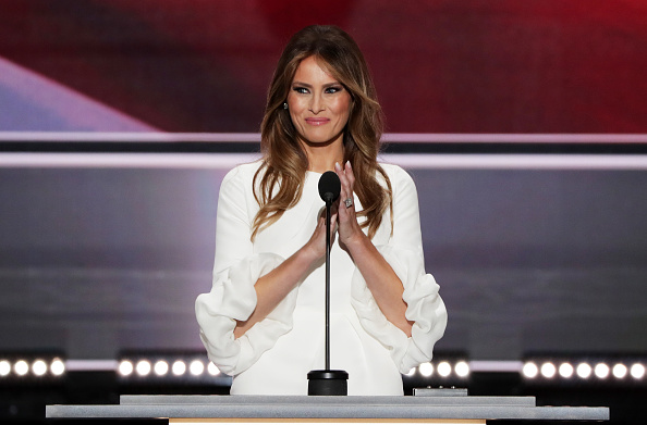 Melania Trump on stage at the RNC. Getty.