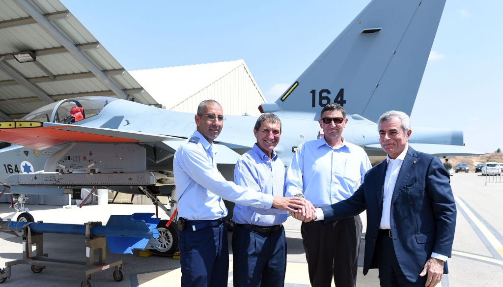 CEO of Leonardo, Mauro Moretti, Ministry of Defense Director General Maj. Gen. (res) Udi Adam, MOD Deputy Director General and Head of Procurement Shmuel Tzuker, and Hazterim Base Commander Brig. Gen. Avshalom Amosi. (Dana Shraga, Ministry of Defense)