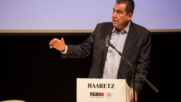 Ari Shavit speaking at the Ha'aretz conference at JW3   (photo credit: Shai Dolev)
