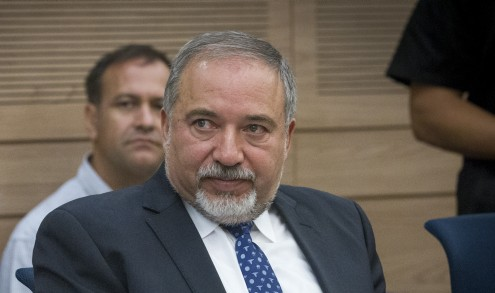 Defense Minister Avigdor Liberman at a meeting of the Foreign Affairs and Defense Committee on July 18, 2016. (Miriam Alster/Flash90)