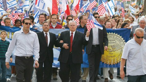 Pastor John Hagee, center, leads Christians in a solidarity march in Jerusalem in 2010 (Coutesy: CUFI)