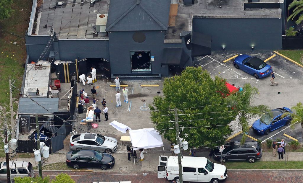 An aerial view of the mass shooting scene at the Pulse nightclub in Orlando, Florida, June 12, 2016. AP/Phelan M. Ebenhack, File
