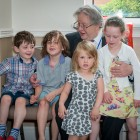 Rabbi Danny Rich with Biennial's youngest delegates
