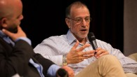 Sir Mick Davis speaking at JW3 during the 'Easyjet Zionism' panel discussion  (photo credit: Shai Dolev)