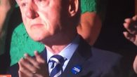 Bill Clinton sporting a Hebrew Hillary Clinton button on Wednesday July 27 2016 at the Democratic National Convention. JTA