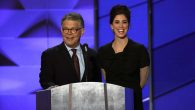 Sen. Al Franken and comedian Sarah Silverman sharing a microphone during the first day of the Democratic National Convention.JTA