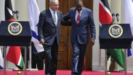Israeli Prime Minister Benjamin Netanyahu and Kenyan President Uhuru Kenyatta at a press conference in Kenya. Getty Images.
