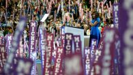 Michelle Obama addresses the crowd on the first night of the convention. Getty.