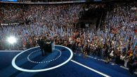 Barack Obama receiving a standing ovation on the third night of the convention. Getty.