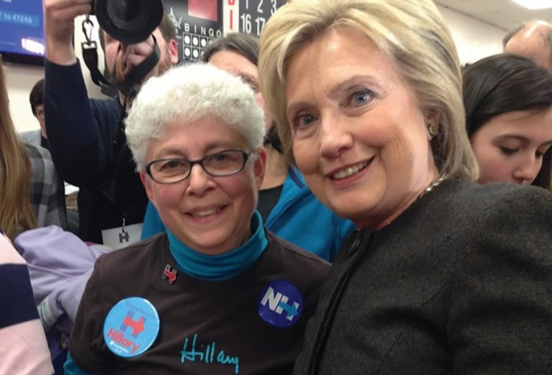 Seventy-year-old Norma Shulman is pictured in New Hampshire with her presidential candidate of choice, Hillary Clinton.