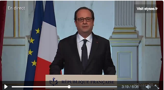 French President François Hollande addresses the nation on July 15 2016 after a terrorist attack. JTA
