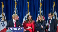 Donald Trump is joined on stage by his wife Melania Trump, daughter Ivanka Trump, and son-in-law Jared Kushner. Getty Images