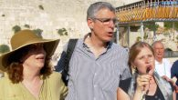 Union for Reform Judaism president Rabbi Rick Jacobs, center, participating in a prayer service at the Western Wall. JTA