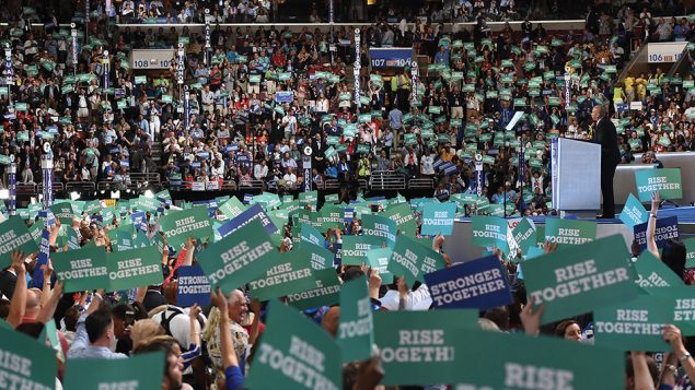 The scene on the convention floor in Philadelphia Monday night during the speech of New Jersey Sen. Cory Booker. Getty Images