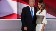 Donald Trump posing with wife, Melania, after she delivered a speech on the first day of the Republican National Convention. JTA