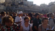 Conservative and Reform Jewish activists taking part in an egalitarian prayer service at the Western Wall Plaza, June 16. JTA
