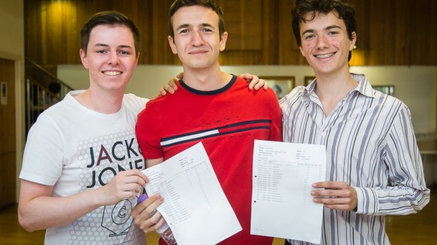 Yavneh Students celebrating receiving their A-Level results (© Photo by Yakir Zur):