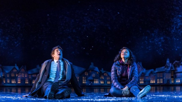 Andy Karl and co-star Carlyss Peer in a snowy scene from the show.