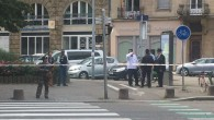 Police cordon off the area where the stabbing is reported to have taken place