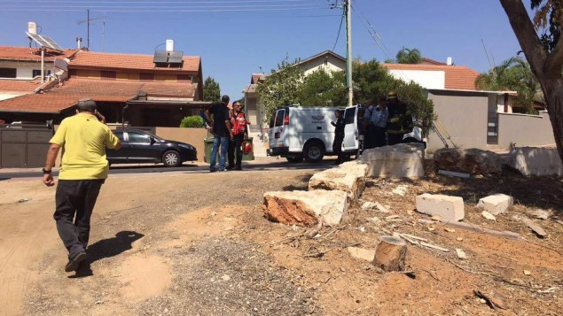 The aftermath of the rocket landing in Sderot, injuring nobody