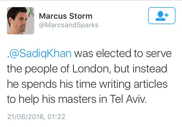 Sadiq 'Serves his masters' in Tel Aviv