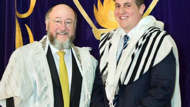 Chief Rabbi Mirvis with his newly-ordained son