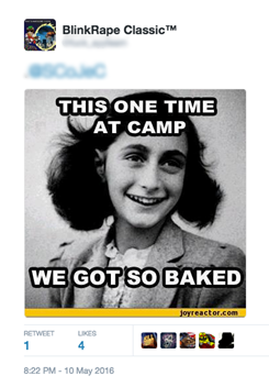 An anti-Semitic tweet with an Anne Frank reference