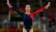 Aly Raisman competing on the uneven bars in the women's team gymnastics competition at the Olympic Games in Rio de Janeiro (JTA)