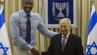 Amar'e Stoudemire, then of the New York Knicks, with former Israeli President Shimon Peres at the president's residence. JTA