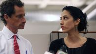 Anthony Weiner and wife Huma Abedin at a news conference in New York City. JTA