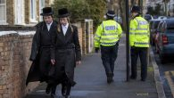 Haredi Orthodox men walking along the street in the Stamford Hill area of London, Jan. 17, 2015. (Rob Stothard/Getty Images)