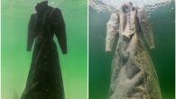 Israeli artist Sigalit Landau left a black dress in the Dead Sea, allowing it to crystallize. JTA