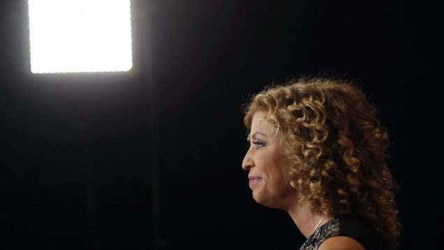 Debbie Wasserman Schultz sitting for an interview before the first Democratic presidential debate in Las Vegas. JTA