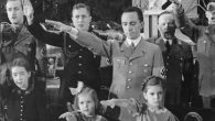 Joseph Goebbels with his daughters, at a Christmas celebration in Berlin, 1937. (German Federal Archives)