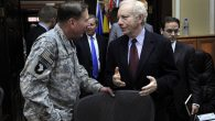 Sen. Joe Lieberman, right, talking to Gen. David Petraeus at the International Security Assistance Force Headquarters (JTA)