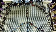 New York University students lay down to form a peace symbol on the floor of the NYU library in 2003. Getty Images