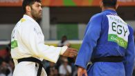 Israel's Or Sasson, left, trying to shake hands with Egypt's Islam Elshehaby after their Olympic judo match in Rio. JTA
