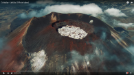 A volcano spitting out popcorn is just one of the eye-popping visuals in the video. Screenshot/Youtube