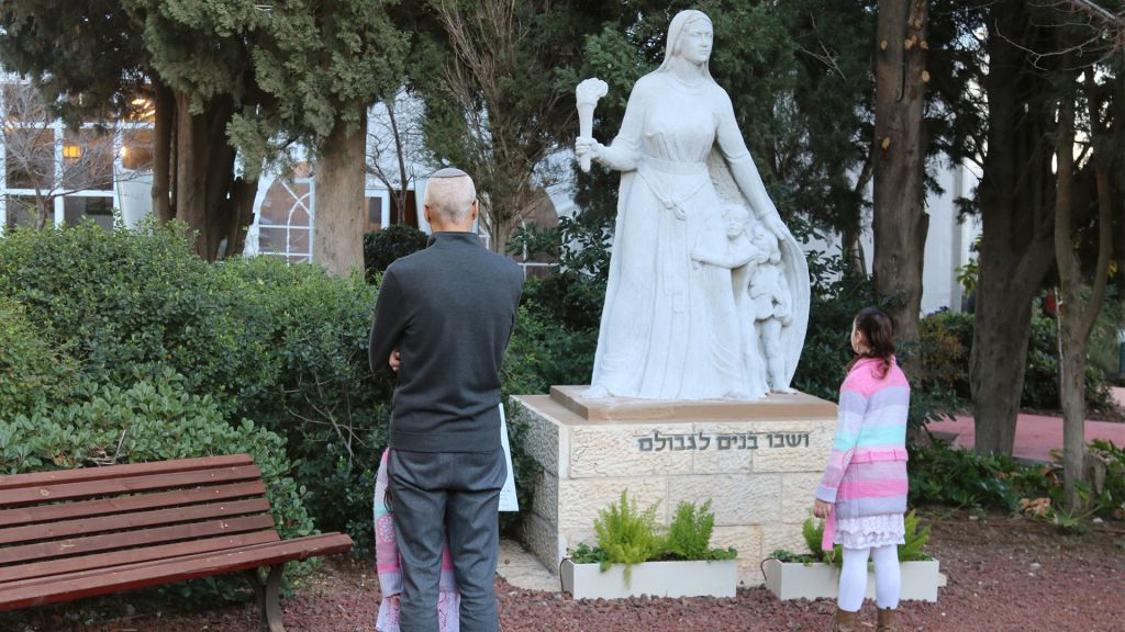 A statue of the matriarch Rachel created in 1954 stands outside Kibbutz Ramat Rachel's guesthouse. (Shmuel Bar-Am)