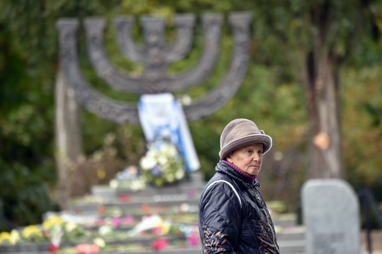Raisa Maistrenko visits the Babi Yar monument in Kiev on September 23, 2016, a few days before Ukraine marks the 75th anniversary of the September 1941 mass executions of Jews by the Nazis during WWII. (AFP Photo/ Sergei Supinsky)