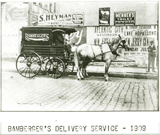 A Bamberger's delivery carriage makes its rounds in this 1909 photo.