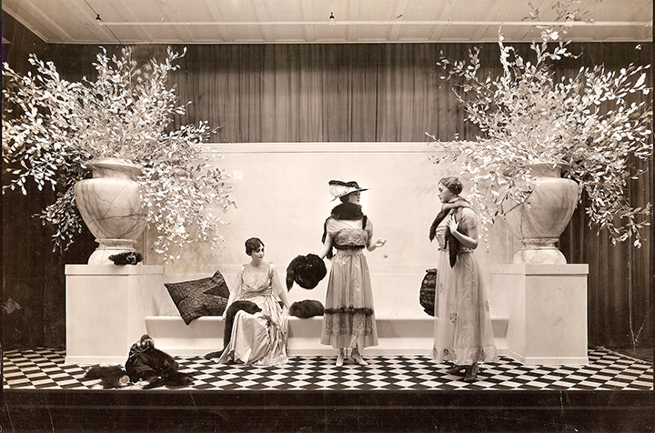 Elegant early 20th century fashions are on display at Bamberger's.