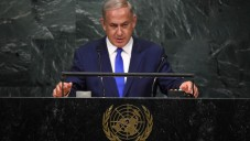 Israeli Prime Minister Benjamin Netanyahu adresses the 71st UN general assembly debate at the UN headquarters in New York City, on September 22, 2016. (Photo by Kobi Gideon / GPO via JINIPIX)