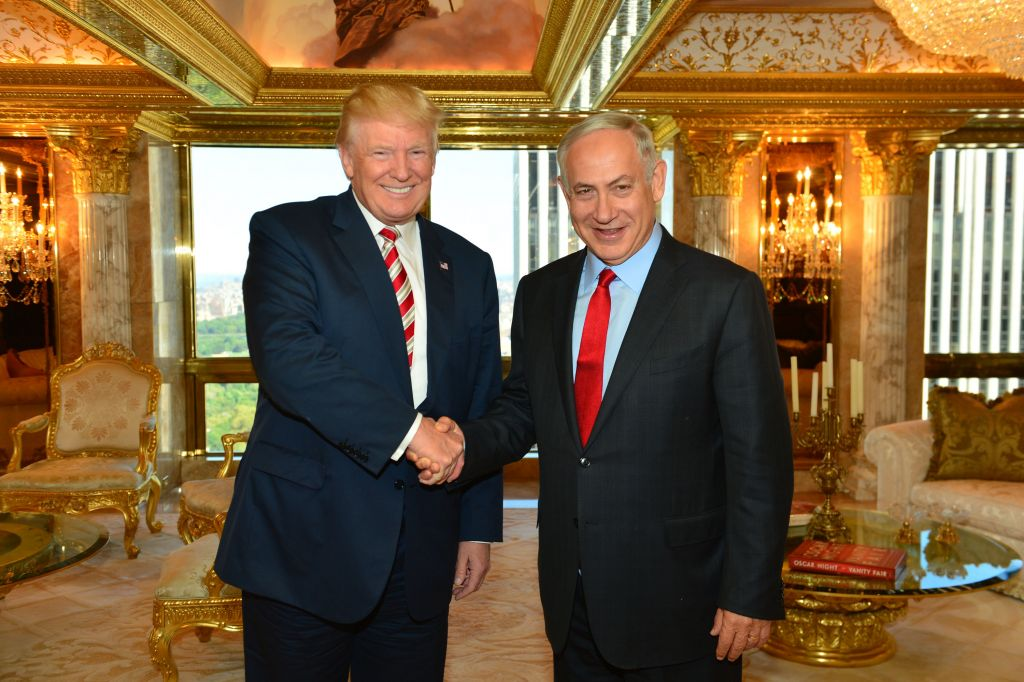 Prime Minister Benjamin Netanyahu meets with Republican Presidential candidate, Donald Trump, in New York, on September 25, 2016. Photo by Kobi Gideon/GPO via JINIPIX