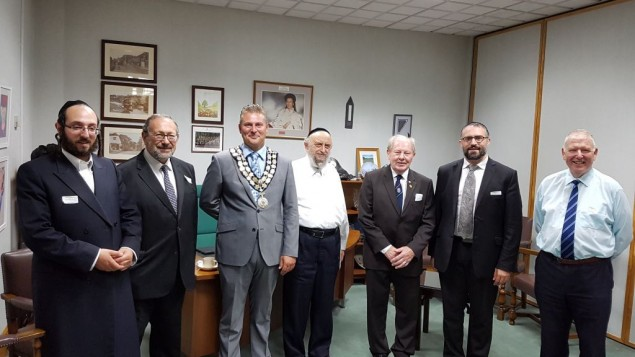 Representatives of the Jewish community of Canvey island invited to a mayor's reception at Castle Point council where they were presented with the Seal of the Council. (September 2016)
