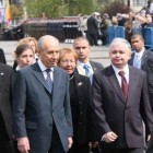 Peres at the 65th Anniversary of the Warsaw Ghetto Uprising ceremony with Polish president Lech Kaczyński